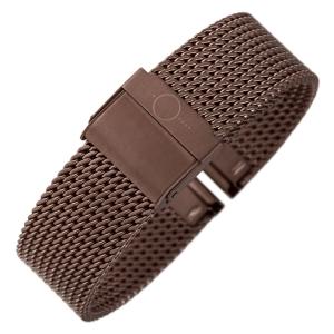 bandOh Mesh Milanaise Horlogebandje Fijn Geweven Bruin Staal