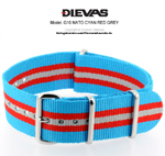 Cyan Red Gray NATO G10 Military Nylon Strap - SS