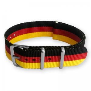 """Zwart Rood Geel """"Duitsland"""" NATO Horlogebandje Nylon"""