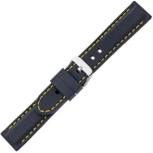 Zwart Silicone Rubberen Horlogeband - Geel Stiksel