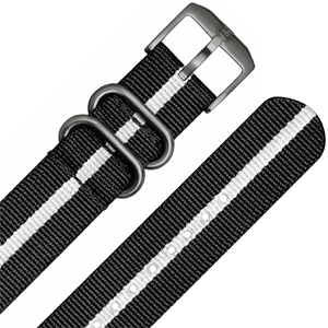 Luminox 3050, 3060, 3080, 3090, 3150, 3950 ZULU Strap Black White Nylon 23mm - FN.3950.10