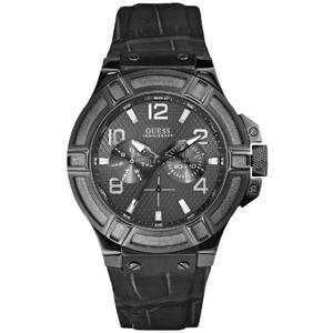 Guess Horlogebandje W0040G1 Rigor Zwart Leer Alligator Structuur