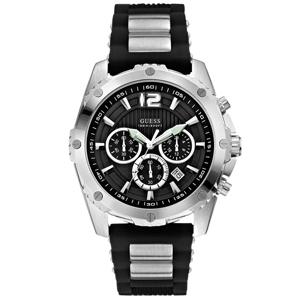 Guess Horlogebandje W0167G1 Intrepid Zwart Rubber & Staal