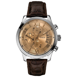 Guess Horlogebandje W0192G1 Bruin Leer Krokostructuur