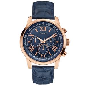 Guess Horlogebandje W0380G5 Blauw Leer Krokostructuur