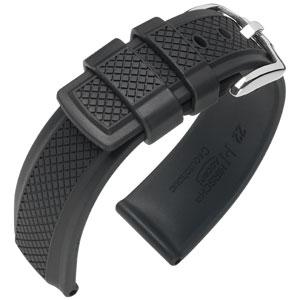 Hirsch Accent Horlogebandje Caoutchouc Zwart Rubber