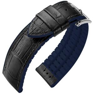 Hirsch Andy Performance Horlogeband Zwart Leer / Blauw Rubber