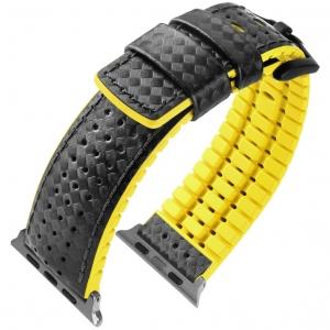 Apple Watch Horlogeband Hirsch Ayrton Zwart Leer Geel Rubber