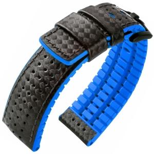 Hirsch Ayrton Performance Horlogeband Zwart Leer / Oceaan Blauw Rubber