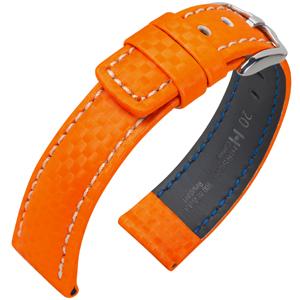 Hirsch Carbon Horlogebandje 100 m Water-Resistant Oranje