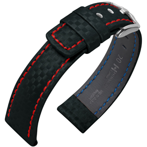 Hirsch Carbon Horlogebandje 100 m Water-Resistant Zwart met Rood Stiksel