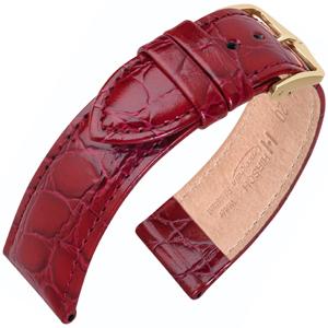 Hirsch Crocograin Horlogebandje Wijnrood