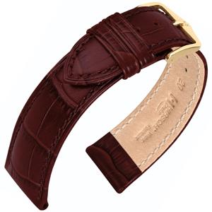 Hirsch Duke Horlogebandje Alligatorgrain Wijnrood