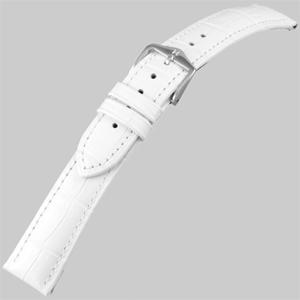 Hirsch Duke Horlogebandje Alligatorgrain Wit