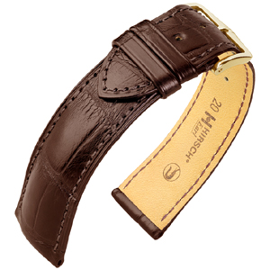 Hirsch Earl Louisiana Alligator Horlogebandje Semi-Mat Bruin