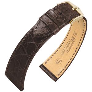 Hirsch Genuine Croco Horlogeband Glanzend Krokodillenleer Bruin