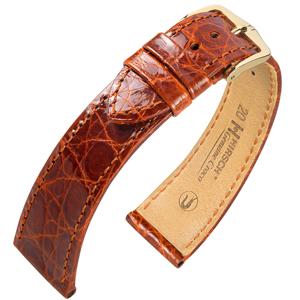 Hirsch Genuine Croco Horlogeband Glanzend Krokodillenleer Goudbruin