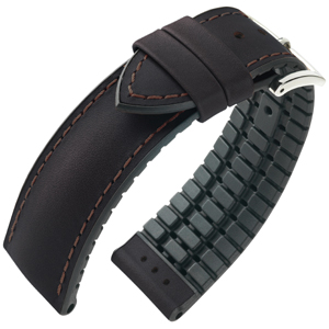 Hirsch James Performance Horlogeband Donkerbruin Leer / Zwart Rubber