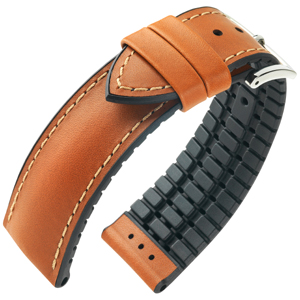 Hirsch James Performance Horlogeband Goudbruin Leer / Zwart Rubber