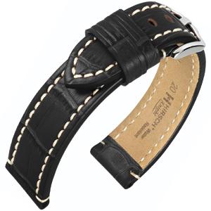 Hirsch Knight Horlogeband Kalfsleer Zwart
