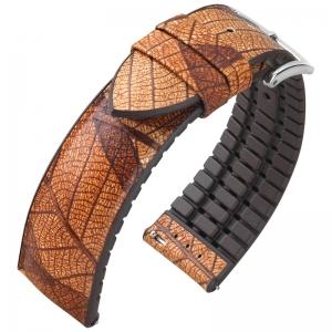 Hirsch Leaf Performance Horlogeband Echt Blad Bruin / Bruin Rubber