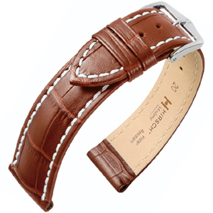 Hirsch Modena Horlogebandje Alligatorgrain Cognac