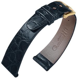 Hirsch Prestige Horlogeband Glanzend Krokodillenleer Zwart