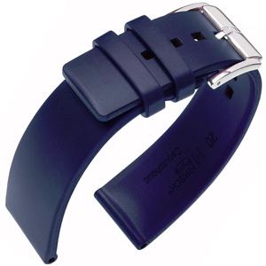 Hirsch Pure Horlogebandje Caoutchouc Natuur Rubber Blauw