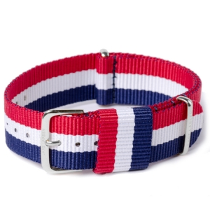 NATO Strap RAF Military Style Air Blue White Red Nylon 20mm - SS/YG/RG