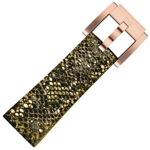 Horlogeband Goud Glamour Leer Slang 22mm - Marc Coblen