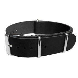 Black NATO Vintage Leather Strap - SS