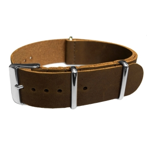Dark Brown NATO Vintage Leather Strap - SS