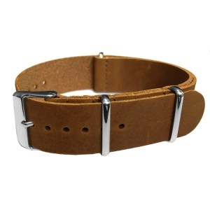 Brown NATO Vintage Leather Strap - SS
