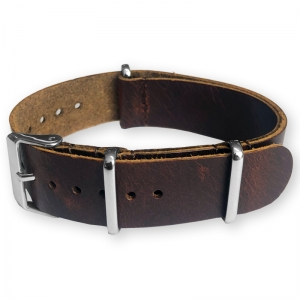 Brown NATO Pull-Up Leather Strap - SS