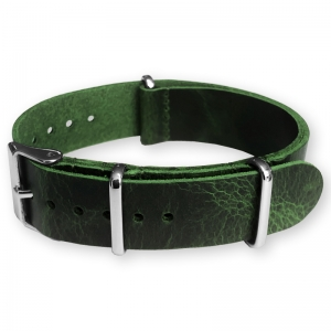 Green NATO Pull-Up Leather Strap - SS