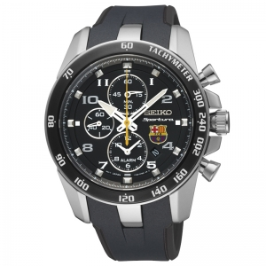 Seiko Sportura FC Barcelona Horlogeband SNAE93P1 Zwart Rubber