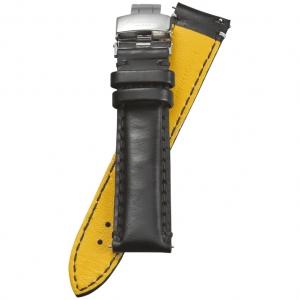 Fromanteel Pendulum Horlogeband Geolied Kalfsleer Zwart met Vouwsluiting