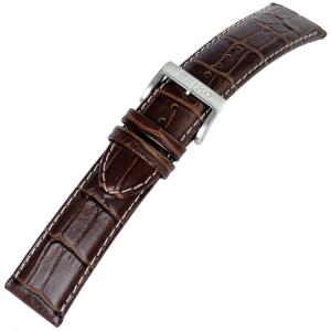 Seiko Horlogebandje Alligatorgrain Kalfsleer Bruin met Wit stiksel - 22 mm
