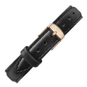 Daniel Wellington 12mm Petite Sheffield Zwart Leer Horlogebandje Rosé Gesp