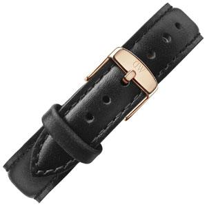 Daniel Wellington 17mm Classy Sheffield Zwart Leer Horlogebandje Ros� Gesp
