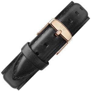 Daniel Wellington 18mm Classic Sheffield Zwart Leer Horlogebandje Rosé Gesp