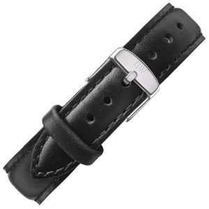 Daniel Wellington 17mm Classy Sheffield Zwart Leer Horlogebandje RVS Gesp