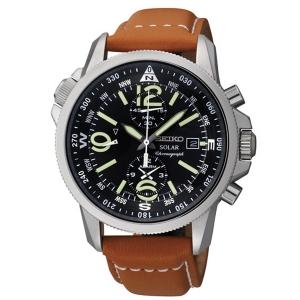 Seiko Solar Horlogeband SSC081P1 Bruin Leer
