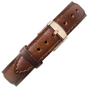 Daniel Wellington 17mm Classy St Mawes Bruin Leer Horlogebandje Rosé Gesp
