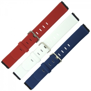 Jacob Jensen horlogeband rood of wit of blauw leer 19mm