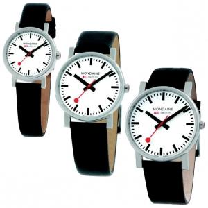 Mondaine Horlogebandje Zwart Leer