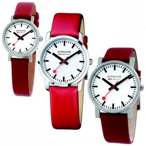 Mondaine Horlogebandje Rood Leer