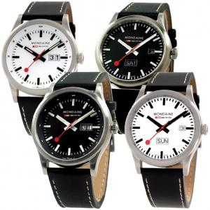 Mondaine horlogeband Sport I / Night Vision Big Date zwart leer