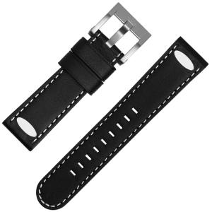 TW Steel Universeel Horlogebandje Zwart Leer Ovale Stud - 22mm