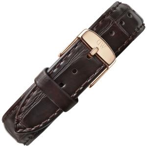 Daniel Wellington 17mm Dapper York Donkerbruin Leer Horlogebandje Rosé Gesp